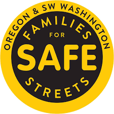 """A yellow and black circle reading """"Oregon and SW Washington Families for Safe Streets"""""""